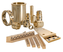 solid aluminum bronze bushings, gibs and wear strips with and with out self-lubricating graphite