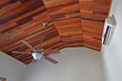 Exotic hardwood ceiling detail