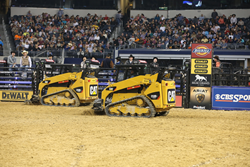 Cat compact track loaders hard at work during a PBR event