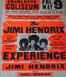 Original Boxing Style 1969 Jimi Hendrix Dorton Arena Raleigh North Carolina Concert Poster