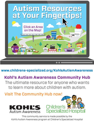 Autism, Hub, Kohl's, autism awareness, Children's Specialized Hospital