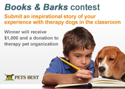 Pets Best announces Books & Barks contest, showcasing the positive impact of therapy pets in the classroom.