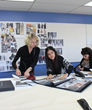 Kathryn Hagen with Woodbury Fashion Design students
