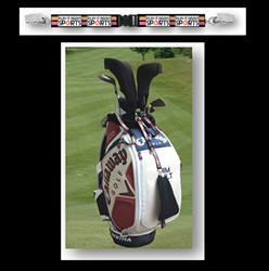 The branded tethers protect from loss of headcovers and communicate store branding impressions