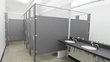 The HDPE bathroom partitions in the men's and women's restrooms resist bacteria.