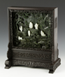 Chinese Carved Green Jade Plaque