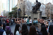 Maori warriors, leading the charge against drug abuse in Sydney's central business district with a rousing performance of song and dance to draw attention to The Truth About Drugs drug initiative.