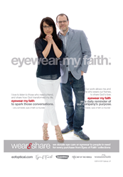 Eyewear My Faith point-of-purchase materials featuring Eyes of Faith® co-founders Jim and Amy Schneider.
