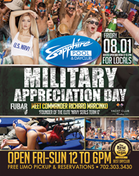 Richard Marcinko Hosts Military Appreciation Day at Sapphire Pool & Day Club in Las Vegas this Friday August 1, 2014.