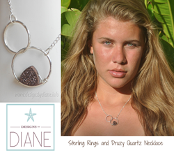 """""""Druzy on a Double Ring"""" Necklace from Designs by Diane as gifted at GBK's Celebrity Gift Lounge for the 2014 Primetime Emmys."""