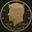 The United States Mint will begin selling the new dual-dated, 1964-2014 gold Kennedy half dollars at the 2014 Chicago World's Fair of Money.  (Image by United States Mint.)
