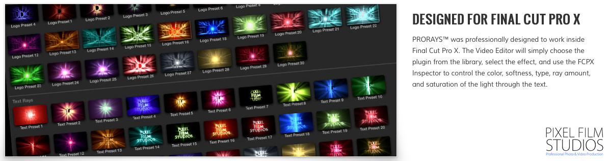 Pixel Film Studios - ProRays - Text Ray Effects for Final Cut Pro X macOS - Free download