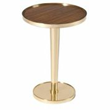 "Pearson's ""9670 Drinks Table"" is made from solid brass with a zebrano veneer wood top."
