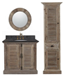 "Recycled Fir 36"" Bathroom Vanity With Black Marble Countertop And Sink From InFurniture 1936"