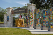 The entrance to the all new Creative Playscape features tiles of children's paintings that adorned the original playground.