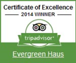 Evergreen Haüs Wins 2014 Trip Advisor Certificate of Excellence...