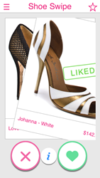 "Swipe Right to ""Like"" the shoes"