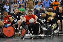 Disabled Veterans compete in Quad Rugby at the National Veterans Wheelchair Games
