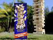 Jenga® GIANT™ weighs 17 lbs and comes with 54 precision cut, high quality, polished hardwood blocks in a sturdy box designed as a game play platform and for easy storage and transport