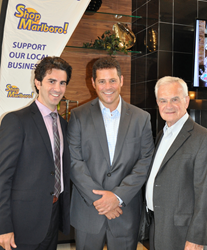 Jason Kaplan, president of Kaplan Companies (l), with Marlboro Mayor Jonathan Hornik (center) and Michael Kaplan, CEO/owner, of Kaplan Companies at the opening of Camelot at Marlboro.