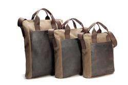 VertiGo 2.0 Laptop Bag—three sizes, shown in waxed canvas with chocolate leather