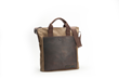 VertiGo 2.0 Laptop Bag—waxed canvas with chocolate brown leather panel