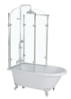 "'Oasis 59' - 59"" Vintage Clawfoot Tub with Tempered Glass Shower Enclosure"