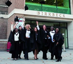 Students celebrate graduating from Birkbeck, University of London