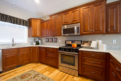 Cabinets in the home built by construction trades students at Salt Lake Community College recently won a blue ribbon during the annual Parade of Homes.