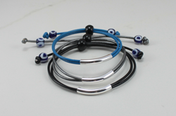 Unisex Wrap Leather-Silver Tube & Evil Eye Bracelet