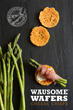 photo of Wausome Wafers cheese crisps with asparagus, prosciutto and horseradish