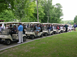 Chip for Charity participants line up to golf in support of the Succinic Semialdehyde Dehyrogenase Deficiency Association at last year's event.