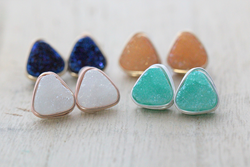 Triangle Druzy Studs from Saressa Designs.