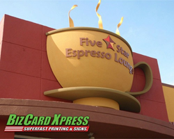 Coffee Mug Monument Sign- BizCard Xpress