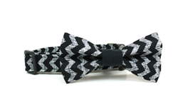 Black Chevron Removable Dog Collar Bow Tie from Four Black Paws