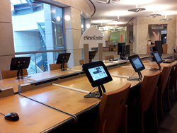 San Francisco Public Library eNews Station featuring ArmorActive's Evolve Enclosure with Gravity Flip Pro.