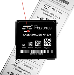 Polyonics black and white laser markable polyimide label materials