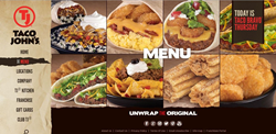 Taco John's website highlights its refreshed branding and positioning line - Unwrap the Original.