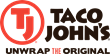 Taco John's logo with its new positioning line, Unwrap the Original.