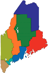 Map of Maine tourism regions by Maine Tourism Association