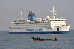 The Africa Mercy is the world's largest civilian hospital ship.  It has five state-of-the-art operating rooms and ward bed space for 82 patients