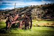 Antique ranch implements on the Eagle Ranch golf course are a reminder of the ranching heritage on the club's beautiful mountain site.
