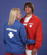 Blue lifeguard jacket and red lifeguard jaket