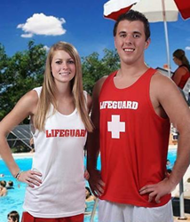 WHITE & RED LIFEGUARD TANK TOPS