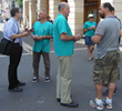 Volunteers talk to passers-by about the drug problem and introduce them to the Truth About Drugs initiative on the popular Saint Ferréol walking street in Marseilles.