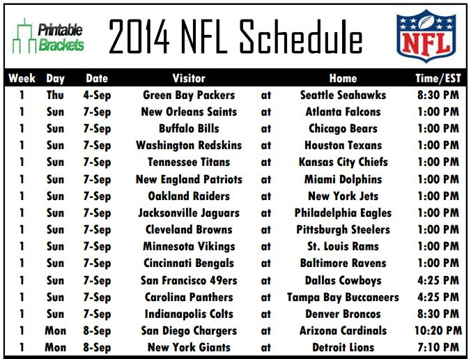 graphic about Packers Printable Schedule named In depth 2014 NFL Routine Obtainable at