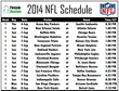 Complete 2014 NFL Schedule Available at PrintableBrackets.net
