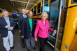 Lieutenant Governor Kay Ivey, MCPSS Transportation Director Pat Mitchell, State Senator Rusty Glover and Blue Bird Chief Commercial Officer Dale Wendell board one of Mobile County's new propane autogas buses Thursday.