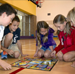 Colt Elementary, Marble Falls, Texas playing LunchBox Kids health and fitness board game during P.E.