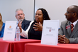 Valerie Gregory, Associate Dean of Admissions at the University of Virginia, addresses the faculty of Fork Union Military Academy during a College Admissions Roundtable held at the college preparatory school.